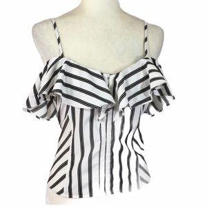 Off shoulder ruffled medium top black white stripe